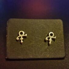 PRINCE ROGERS NELSON LOVE SYMBOL SILVER PL STUD EARRINGS O(+  Necklace~Purple
