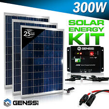 GENSSI 300W Watt Solar Panel Kit 3 pcs 100W 12V RV Boat with Charge Controller