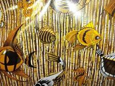 3 Rolls Vintage Foil Wallpaper Sea Life Fish Seahorses Mustard Yellow Silver