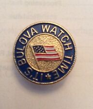 "Bulova Watch Its Time Flag 3/4"" Lapel Pin Lot Of 3 Round Gold Vtg Clutch Back"