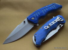 TAC-FORCE SPRING ASSISTED TACTICAL KNIFE BLUE WOOD HANDLE WITH POCKET CLIP