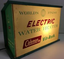 Vintage Coleman Lanterns Water Heaters Turquoise Working Electric Sign Benco Usa