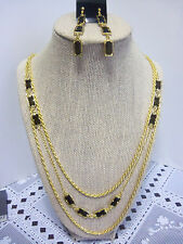 Multi Chain/Length Goldtone Necklace w. Olive Color Accents & Matching Earrings