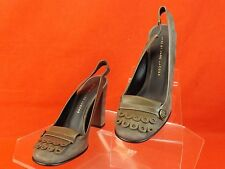 NIB MARC BY MARC JACOBS GRAY SUEDE LEATHER FRINGS BUTTON LOGO PUMPS 36.5 $520