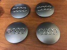 NEW AUDI 4 PCS CENTER WHEEL WHEELS RIM RIMS HUB HUBS CAP CAPS 68MM GRAY GREY