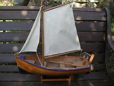 WOODEN SAILING BOAT MODEL OLD SAILING BOAT WITH SAILS AND STAND