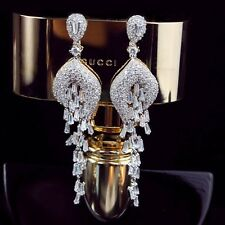 18K White Gold Filled Diamond Studded Elegant Chandelier Evening Earrings