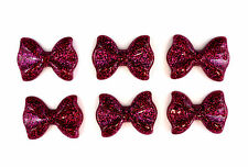 6 x Glitter Fushia Dark Pink Resin Bow 20mmx28mm Flatbacks Cabochon Decoden