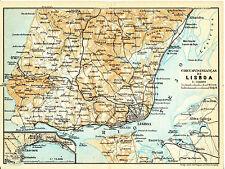 Lisboa Cascaes 1908 mapa orig. + guía francés (3 p.) Almada Estoril Alhandra