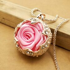 Fashion gold plating Crystal Rose sweater chain long necklace CC300