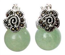 Green Jade Marcasite 925 Sterling Silver Drop Earring 1.5''