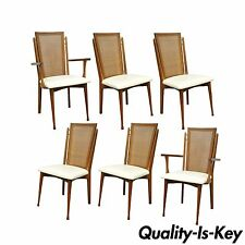 Set 6 Vtg Specialty Woodcraft Mid Century Danish Modern Cane Teak Dining Chairs