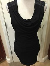 by & by Black Ruched Dress women juniors M 2 4 LBD evening club cocktail