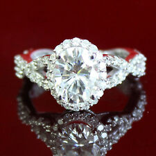 3.20 CT FOREVER ONE MOISSANITE OVAL HALO MICRO PAVE ENGAGEMENT SOLITAIRE RING