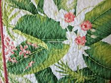 TOMMY BAHAMA 3pc KING Quilt SET Coral Green Red Ivory TROPICAL FLORAL Cotton NEW