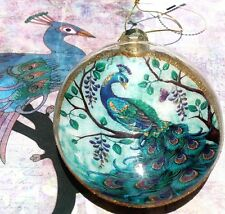 Glitter Embellished Majestic Peacock Ornament Oval Disk ll Fan Pull Home Decor