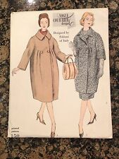 50'S VOGUE COUTURIER SEWING PATTERN 150 FABIANI MISSES FULL COAT & SKIRT SIZE 14
