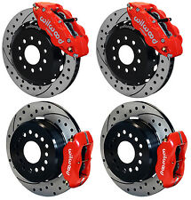 "WILWOOD DISC BRAKE KIT,2005-NEWER FORD MUSTANG,13""/12"" DRILLED,RED CALIPERS"