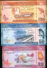 Sri Lanka - 20, 50 and 100 Rupees - set of 3 UNC currency notes