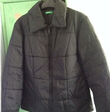UNITED COLOURS OF BENETTON BLACK  QUILTED JACKET SIZE S BUT BIG(10-14)WORN ONCE