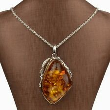 Popular Womens Jewelry Silver Plated Faux Amber Chain Drop Pendant Necklace