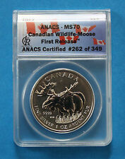 2012 $5 Canadian Silver Moose - ANACS MS70 First Release