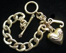 Auth. JUICY COUTURE Puffed HEART J CHARM Starter BRACELET~Toggle~Goldtone,FJT