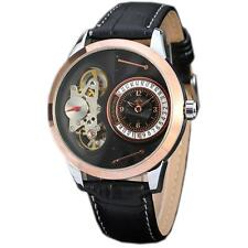 Luxury Rose Gold Skeleton Automatic Mechanical Tourbillon Men Leather Band Watch