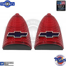 55 Chevy Taillight Tail Light Lamp Lenses Blue-Dot Chrome Bowtie  Made in USA