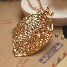 Costume Jewelry Gold Color Alloy Leaf Design Pendant Necklace For Women Ladies