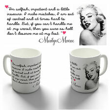 MARILYN MONROE IM SELFISH QUOTE COFFEE MUG TEA CUP BIRTHDAY CHRISTMAS GIFT