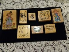 Lot of 8 Rubber Stamps including Stampin Up 1994 Scripted Phrase bee bear moon