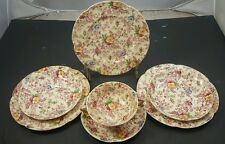 JOHNSON BROS Set Victorian OLD ENGLISH CHINTZ 3 Saucers, 3 Salad Plates, 1 Cup