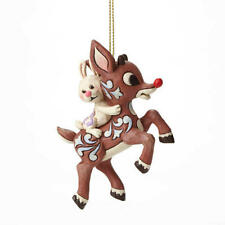 Jim Shore Rudolph And Bunny Flying Resin Ornament #4047945 NIB