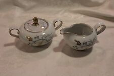 Vintage Eschenbach China W828 Blue, Gray,& Gold Beautiful Creamer and Sugar Bowl