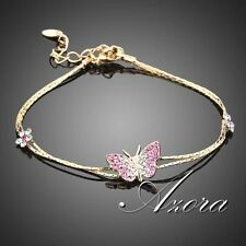 18K Real Gold Plated with Austrian Crystal Butterfly Charm Bracelet