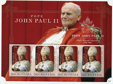 Micronesia 2015 MNH Pope John Paul II 1920-2005 10th Memorial Anniv 4v M/S Popes