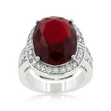 16.8 TCW Red Ruby Oval & Round Cut CZ Antique Halo Style Cocktail Ring Size 7