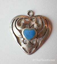 "Vintage Sterling Silver Heart Pendant Filigree Persian Turquoise 1"" x 7/8"""