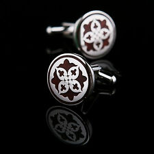 Vintage Wood Silver Mens Wedding Party gift shirt cufflinks cuff links