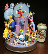 RARE Disney Store Fantasia Character Alice Peter Pan Dumbo Snowglobe Music Box