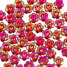 10mm Transparent Acrylic Flower Shaped Pony Beads Red AB - Pack of 50 (J26/4)