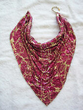 pink gold vintage Whiting Davis mesh cowl necklace sparkly chainmail disco drape