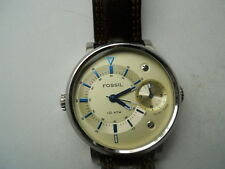 Fossil Dual Time men's Brown leather,quartz,battery & Analog dress-watch.Fs-4338