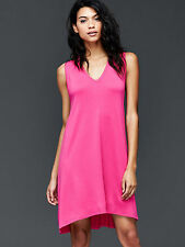GAP Women Swing Dress XS Knit V-neck Hi Lo Hem Hot Pink Cotton Sleeveless New