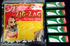ZIG ZAG LARGE Bag 450 SLIM Filter Tips & 5 Booklets Packs of SWAN GREEN Papers