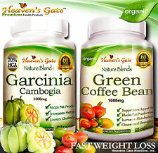 GARCINIA CAMBOGIA AND GREEN COFFEE BEAN COMBO WEIGHT LOSS ORGANIC 100% PURE *