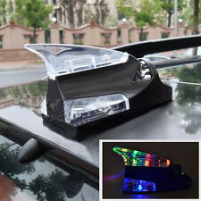 BLK Auto Roof Mount Spoiler Shark Fin Decor Aerial Wind Power Flashing LED Light