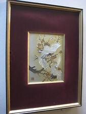 Vintage Japanese 24K Gold Silver Engraved 2 Crane Chokin Art, Framed, Signed