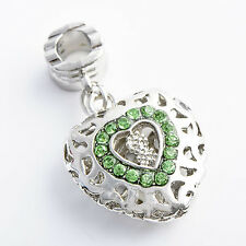 Fashion jewelry green clear crystal Heart Womens Pendant/Charm Silver/White GF